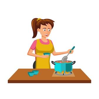 Design plano de personagem de desenho animado de mulher cozinhando