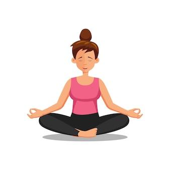 Design plano de personagem de desenho animado de mulher fazendo ioga