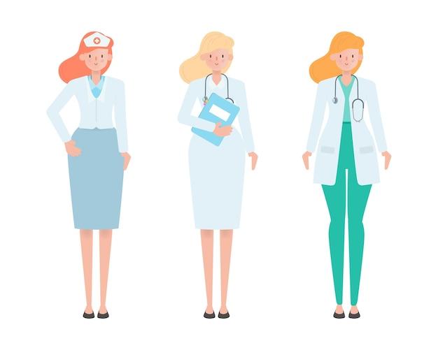 Design plano de personagem de desenho animado médico.