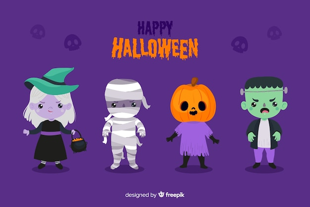 Design plano de personagem de halloween