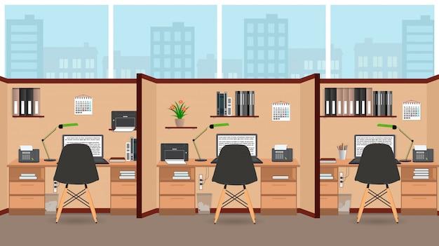 Design plano de sala de escritório interior com grande janela, incluindo três espaços de trabalho com móveis.