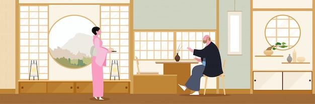Design plano de sala de estar zen japão