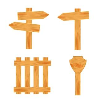 Design plano de sinais de trânsito de madeira. tabuleta vazia de madeira, prancha e placa isoladas