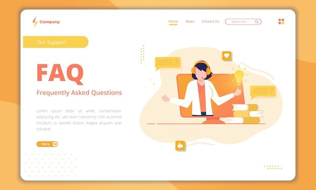 Design plano de suporte ao cliente com a landing page faq