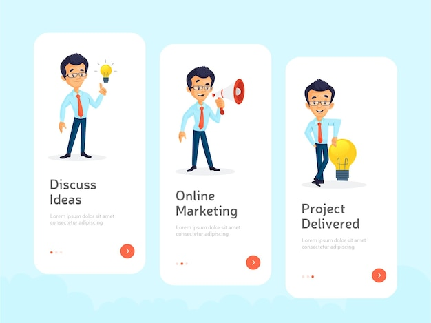 Design plano de tela inicial para aplicativos móveis
