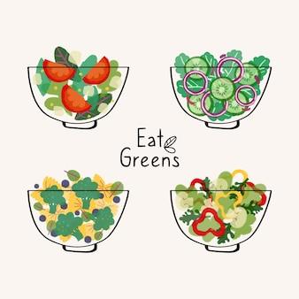 Design plano de tigelas de frutas e saladas