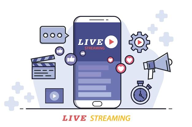 Design plano de transmissão ao vivo, ilustração vetorial