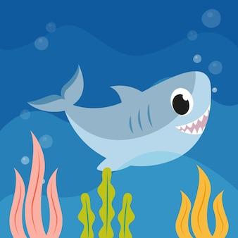 Design plano de tubarão bebê fofo