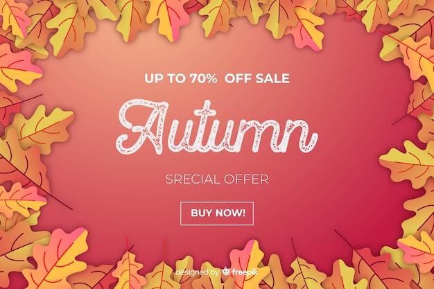 Design plano de venda outono vermelho