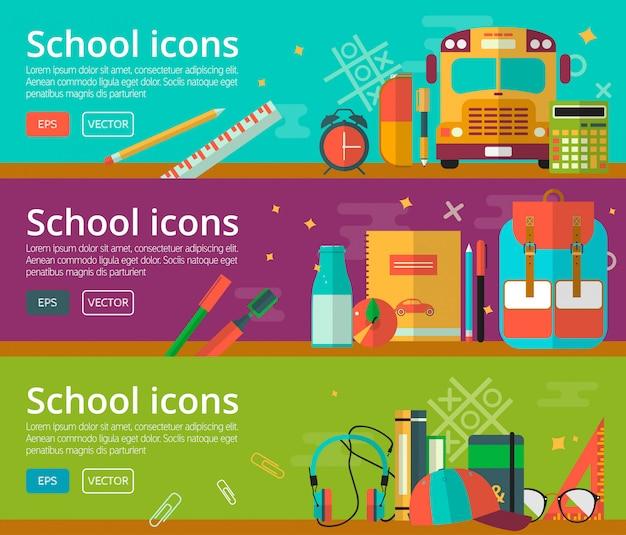 Design plano de vetor da bandeira de conceitos de educação