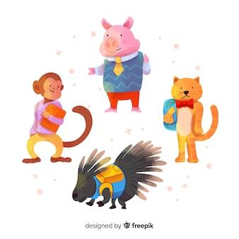 Design plano de volta à coleção de animais da escola