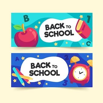 Design plano de volta à coleção de banners da escola