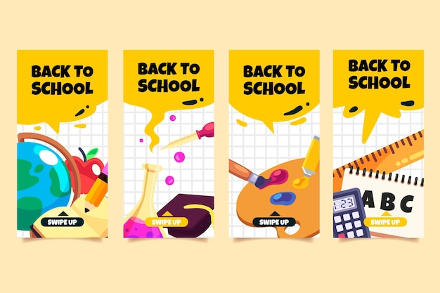 Design plano de volta à coleção de histórias do instagram de escola