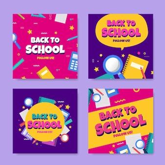 Design plano de volta à escola instagram posts coleção