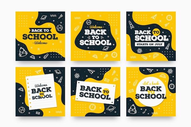 Design plano de volta à escola instagram posts