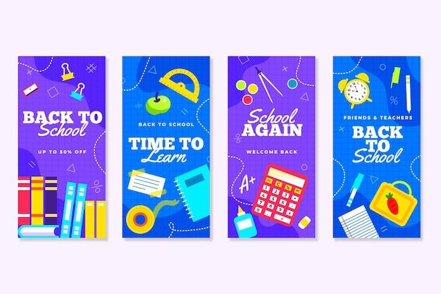 Design plano de volta à escola instagram stories pack