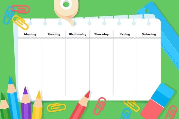 Design plano de volta à escola