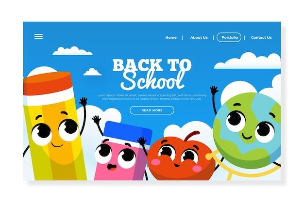 Design plano de volta à página inicial da escola