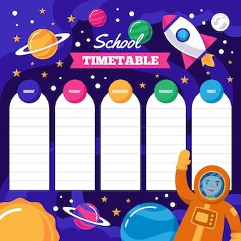 Design plano de volta ao calendário escolar com ilustrações