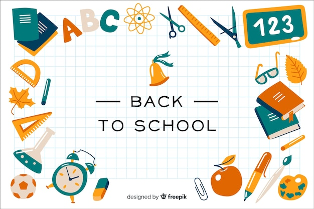 Design plano de volta ao fundo da escola