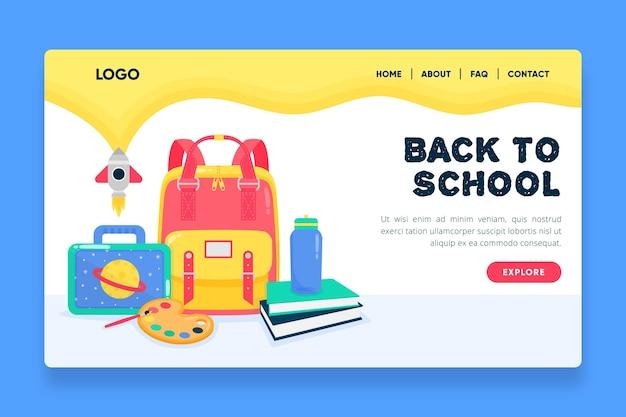 Design plano de volta ao modelo de página de destino da escola