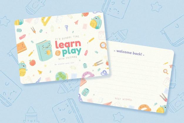 Design plano de volta ao pacote de modelo de cartão de escola