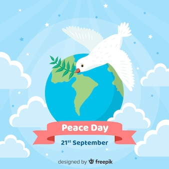 Design plano dia da paz pomba voando sobre o mundo
