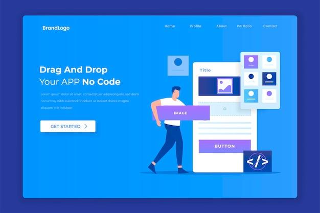 Design plano do conceito de construtor de aplicativos de arrastar e soltar