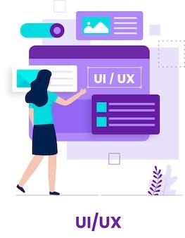 Design plano do conceito de design ui ux. ilustração para sites, páginas de destino, aplicativos móveis, pôsteres e banners