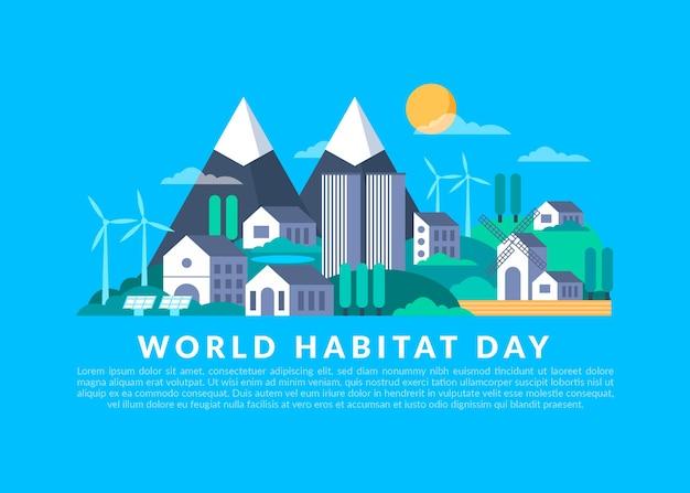 Design plano do conceito do dia mundial do habitat