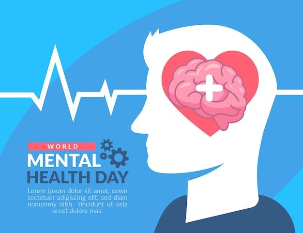 Design plano do dia mundial da saúde mental