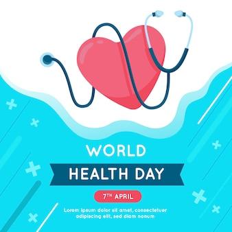 Design plano do dia mundial da saúde