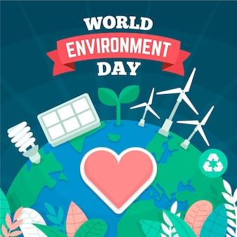 Design plano do dia mundial do ambiente