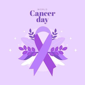 Design plano do dia mundial do câncer