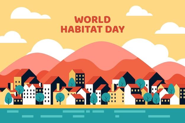Design plano do dia mundial do habitat