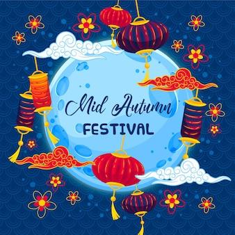 Design plano do festival do meio do outono
