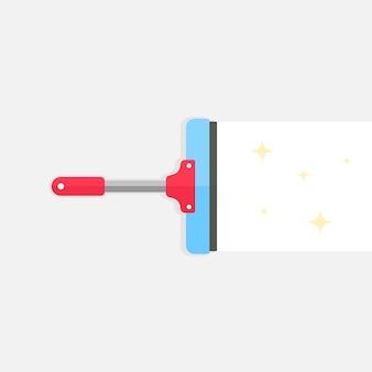 Design plano do ícone da ferramenta de limpador. rodo ou janela de vidro da escova de limpeza. vetor eps 10.