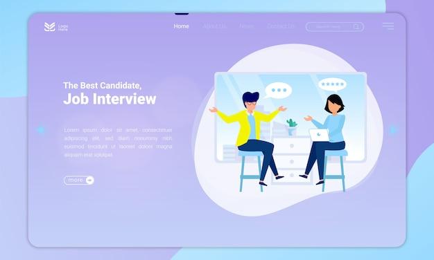 Design plano do melhor candidato, ilustração de uma entrevista de emprego na página de destino