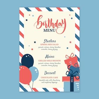 Design plano do menu de aniversário infantil