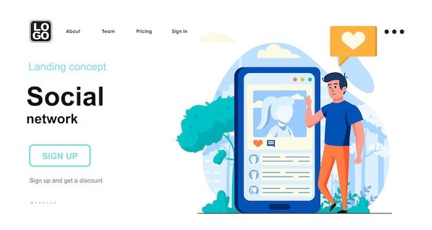 Design plano do modelo da página de destino da rede social