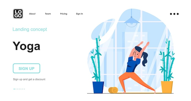 Design plano do modelo da página de destino para ioga