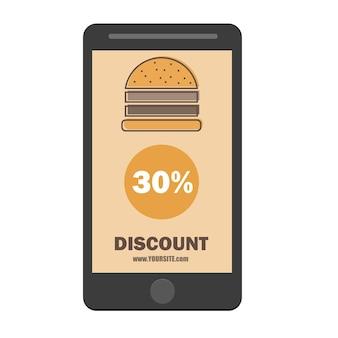 Design plano do modelo de desconto de cupom de hambúrguer fast food - ícone de desconto de smartphone