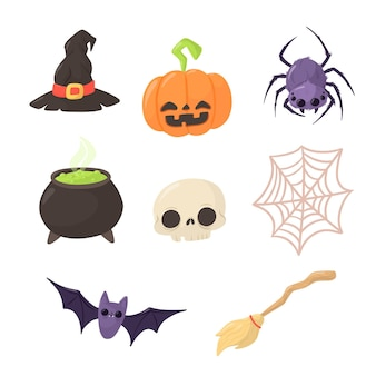 Design plano do pacote de elementos de halloween