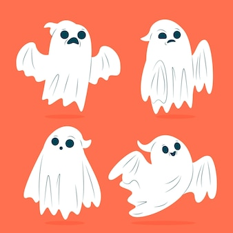 Design plano do pacote fantasma de halloween