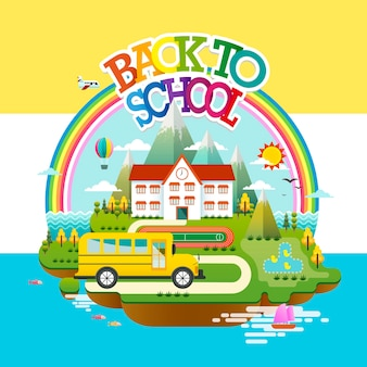 Design plano educacional, cena de volta às aulas com a escola em uma pequena ilha