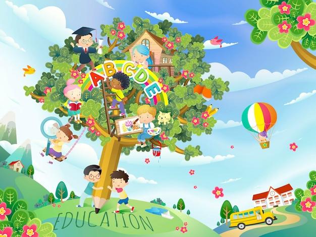 Design plano educacional, crianças adoráveis brincando na árvore de canetas