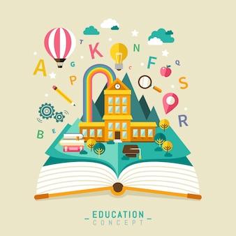Design plano educacional, escola adorável e elementos de livro