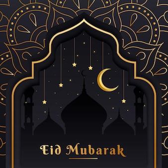 Design plano eid mubarak com lua sobre mesquita