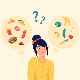 Design plano escolhendo entre ilustração de alimentos saudáveis ou não saudáveis