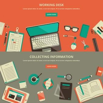 Design plano espaço de trabalho bandeira